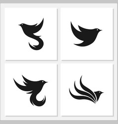 bird flat logo set template design vector image