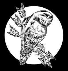 Bird owl arrow black vector