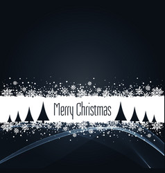 black christmas background with snowflakes vector image
