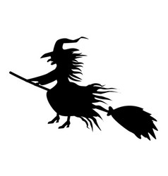 Black witch silhouette on white background vector