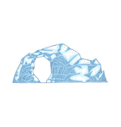 blue iceberg with hole in middle frozen vector image