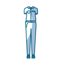 Blue silhouette shading of female uniform clothing vector
