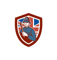 British Bobby Policeman Truncheon Flag Shield vector image
