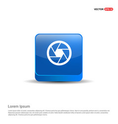 camera lens icon - 3d blue button vector image
