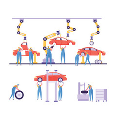 car production factory machinery line character vector image