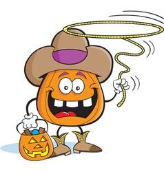 Cartoon Pumpkin in Cowboy Costume vector image