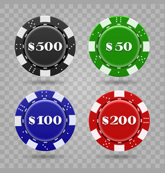Casino chips on transparent background vector