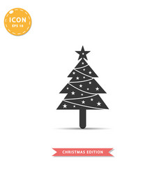 christmas tree icon simple flat style vector image