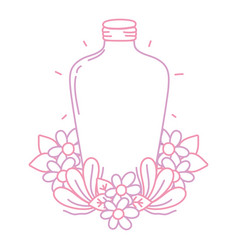 Color line long mason jar with flowers and leaves vector