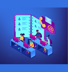 Contact center isometric 3d concept vector