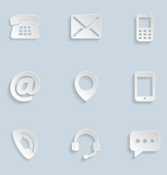 Contact us Paper Icons vector image