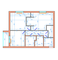 Drawing apartment with dimensions vector