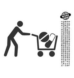 Drugs shopping cart icon with job bonus vector