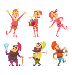 dwarves and elves funny fairytale characters in vector image