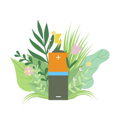 Eco friendly battery renewable energy vector
