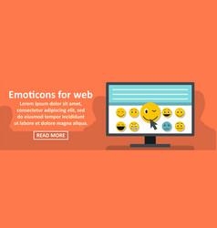 Emoticons for web banner horizontal concept vector