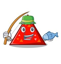 Fishing triangel mascot cartoon style vector