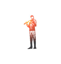 flute musician man instrument play vector image