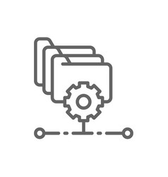 folders with gear project management file vector image