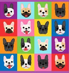 french bulldog faces background pop art style vector image