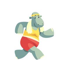 Funny hippo running wearing sports uniform vector