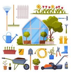 garden collection agriculture work equipment vector image