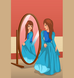 Girl wearing a dress looking at mirror vector