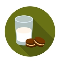 Glass of milk with cookies icon in flat style vector
