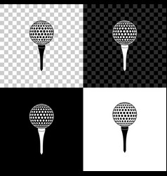 Golf ball on tee icon isolated on black white and vector