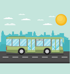 Green city bus in front of city silhouette and vector