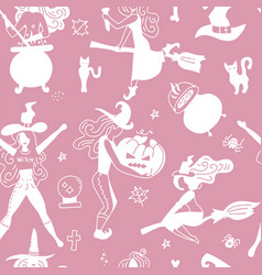 halloween seamless pattern for girls young witch vector image