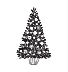 Hand drawn decorated christmas tree black and vector