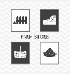 Hand drawn silhouettes farm market posters vector