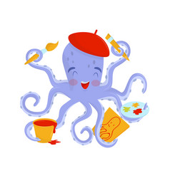 Joyful octopus artist with pink cheeks in red vector