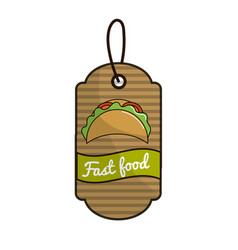 Label fast food tacos mexican culture vector