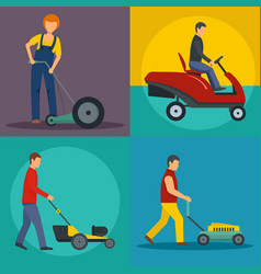 Lawnmower service banner concept set flat style vector