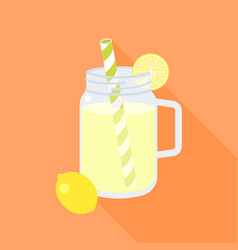 Lemonade in mason jar and slice of lemon vector