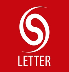 logo spun letter S on a red background vector image