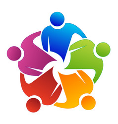 logo teamwork reunion partner people business vector image