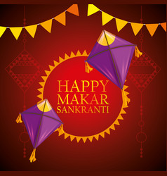 makar sankranti emblem with kites and party banner vector image