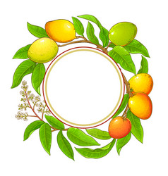 Mango branches frame on white background vector