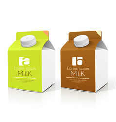 Milk box packaging design collections vector