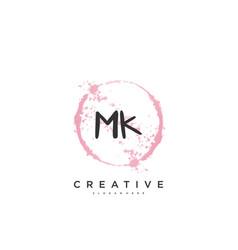 Mk beauty initial logo handwriting logo art vector