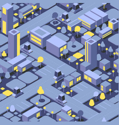 night isometric city seamless pattern buildings vector image