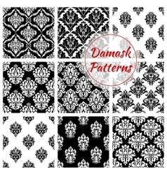 Old damask or damasque seamless pattern background vector