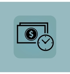Pale blue dollar time icon vector image