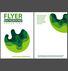 paper cut style design with green layers vector image
