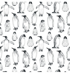 penguin sketch seamless pattern hand drawn vector image