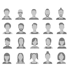 profile icons male and female head silhouettes vector image