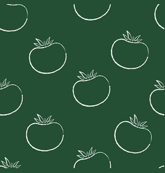 retro chalk silhoette seamless vegetable pattern vector image